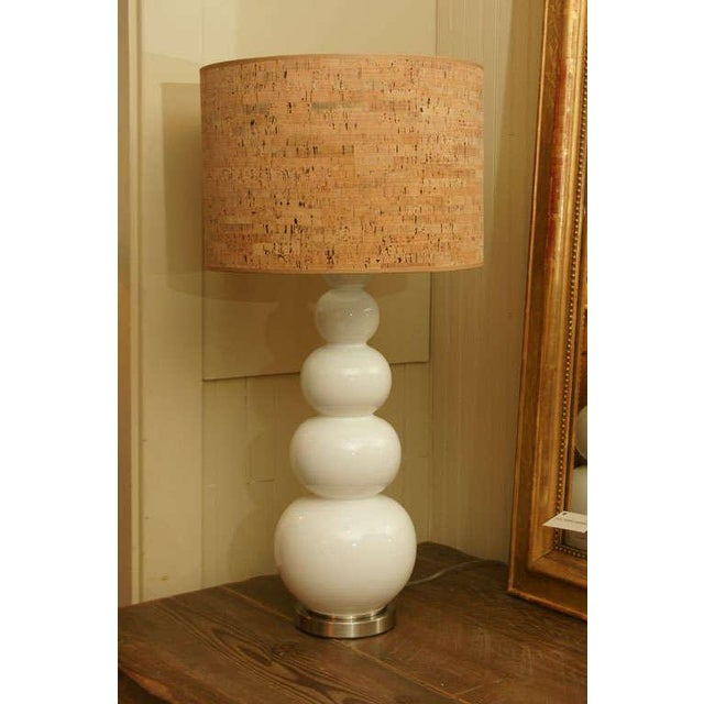 Image of White Glass Stacked Gourd Lamp