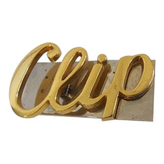 Oversized Clip Vintage 1960s Brass Desk Paper Holder