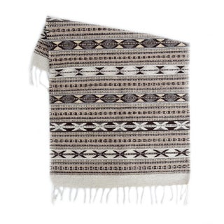 Handwoven Grey Oaxaca Wool Rug - 2′ × 3′