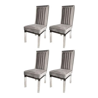 Four Dining Chairs in Lucite, Chrome and Platinum Velvet by Charles Hollis Jones