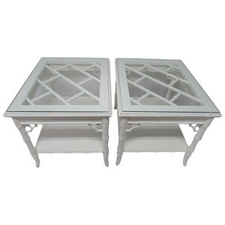 Baker Chinese Chippendale Lacquered Side Tables - A Pair