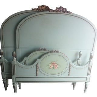 Hand-Carved French Twin Beds - Pair