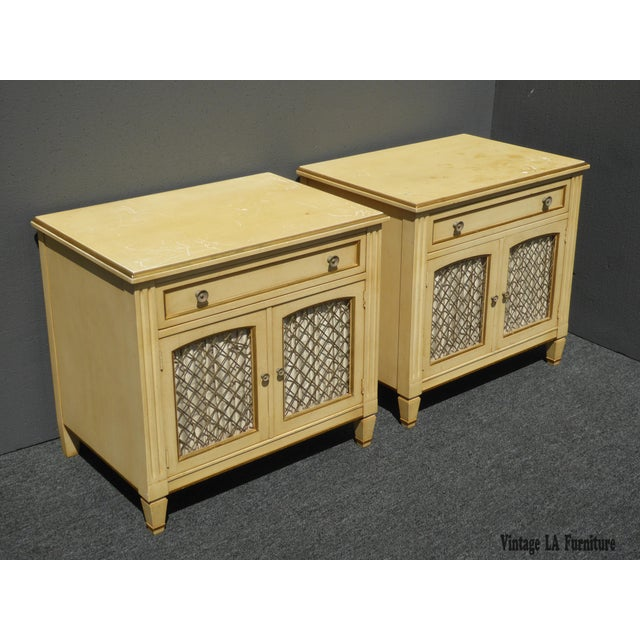 Vintage Kindel French Country Cottage Cream Nightstands - A Pair - Image 2 of 11