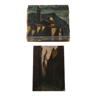 Expressionist Cityscape Paintings - A Pair