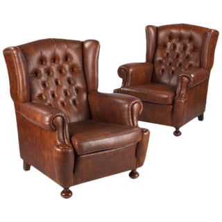 1960s Vintage French Tufted Armchairs - A Pair