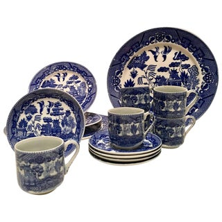 Antique Japanese Blue Willow Ironstone - Set of 15