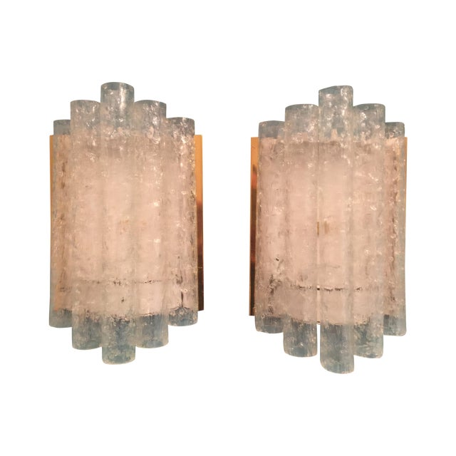 Ice Glass/Brass Sconces by Doria - Pair - Image 1 of 5