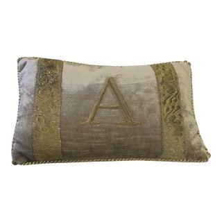 "Antique Metallic Applique ""A"" Pillow by Rebecca Vizard for B. Viz Design"