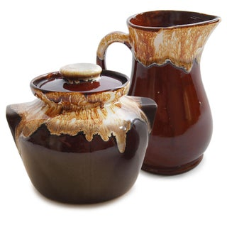 Roseville USA Brown Drip Glaze Jar & Pitcher
