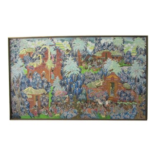 Traditional Balinese Village Painting on Canvas