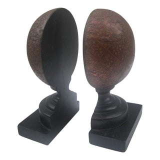 Wooden Finial Style Bookends - A Pair
