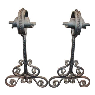Spiral Top Wrought Iron Andirons - A Pair