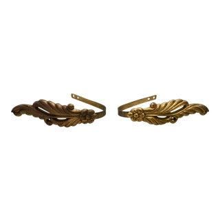 Vintage Floral Brass Curtain Tie Backs - a Pair