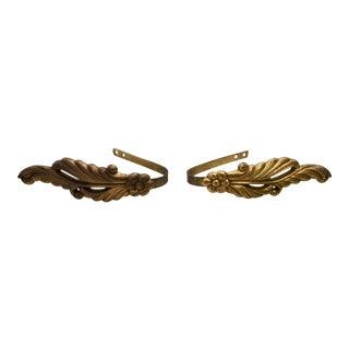 Vintage Floral Brass Curtain Tie Backs - a Pair