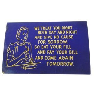 40s Blue Diner Sign