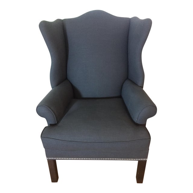 Ethan Allen Gray Wing Back Arm Chair Chairish