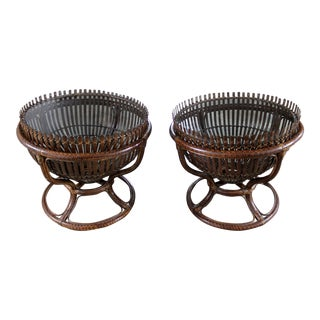 Franco Albini Style Fish Trap Basket Tables - A Pair
