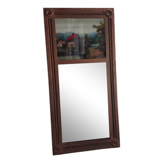 Antique Mirror With Reverse Painted Scene