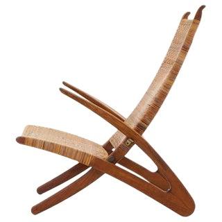 Rare Hans Wegner Dolphin Folding Lounge Chair Johannes Hansen, Denmark, 1950