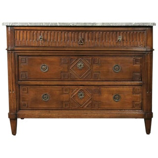 18th Century Period French Louis XVI Walnut Commode with Saint Anne Marble Top