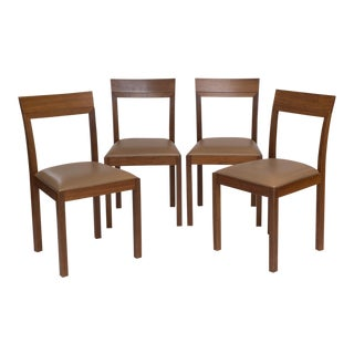 Set of 4 Walnut Dining Chairs Made In Italy