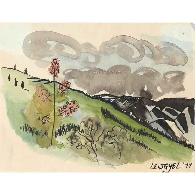 Image of Mid-Century Alaska Landscape Watercolor Painting
