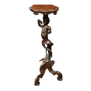 19th Century Italian Carved Blackamoor Walnut Table with Gilt Accents