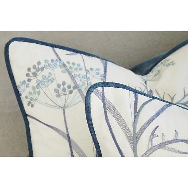 Image of Designer Embroidered Blue Flower Pillows - A Pair