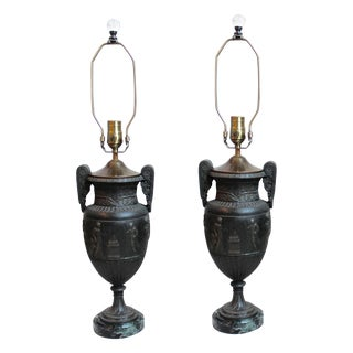 Patinated Metal Neoclassical Urn Lamps - Pair