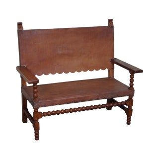 Vintage Spanish Colonial Style Leather Hacienda Bench