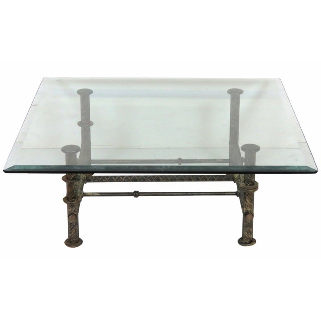 Industrial Design Iron Glass Cocktail Table Chairish