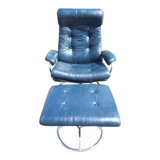 Stressless Blue Leather Lounge Chair & Ottoman