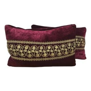 Burgundy Velvet & Gold Thread Pillows - A Pair