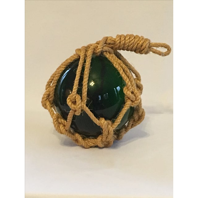 Green Glass Fishing Float with Netting - Image 4 of 7