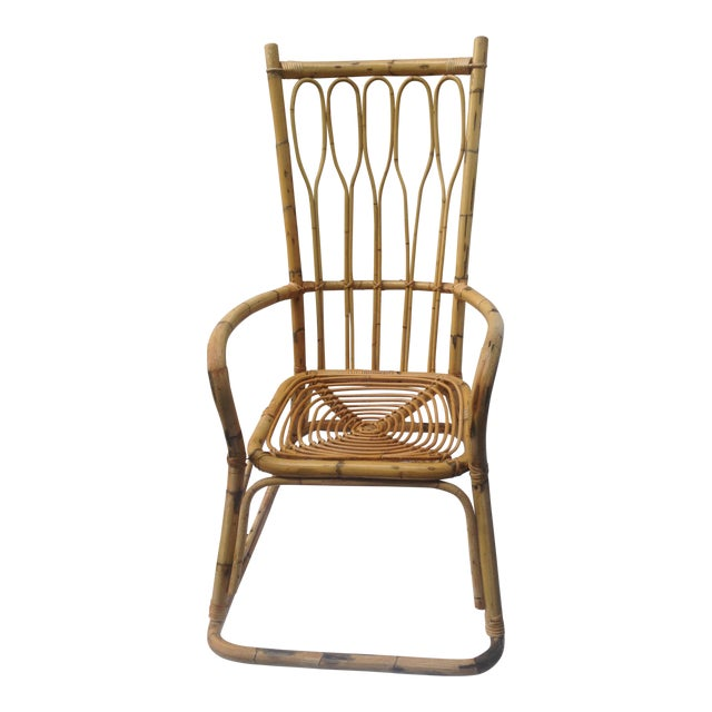 Mid-Century Ficks and Reed Style Bamboo Rocking Chair - Image 1 of 8