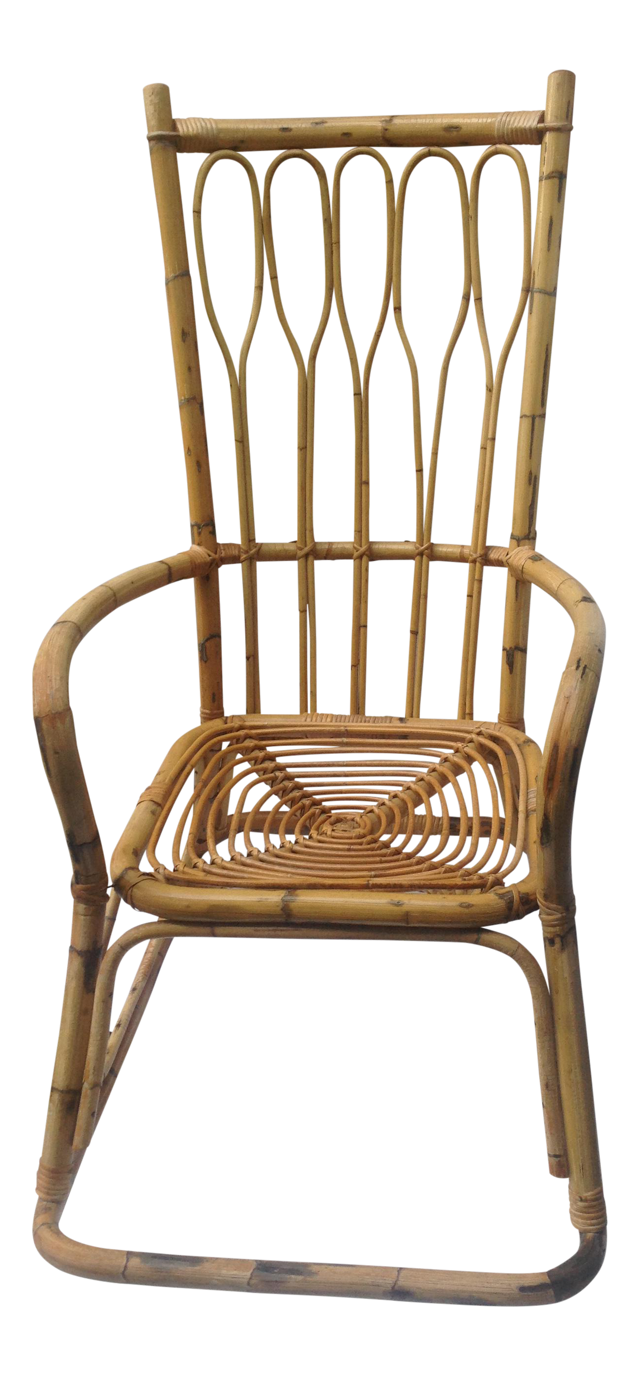 midcentury ficks and reed style bamboo rocking chair