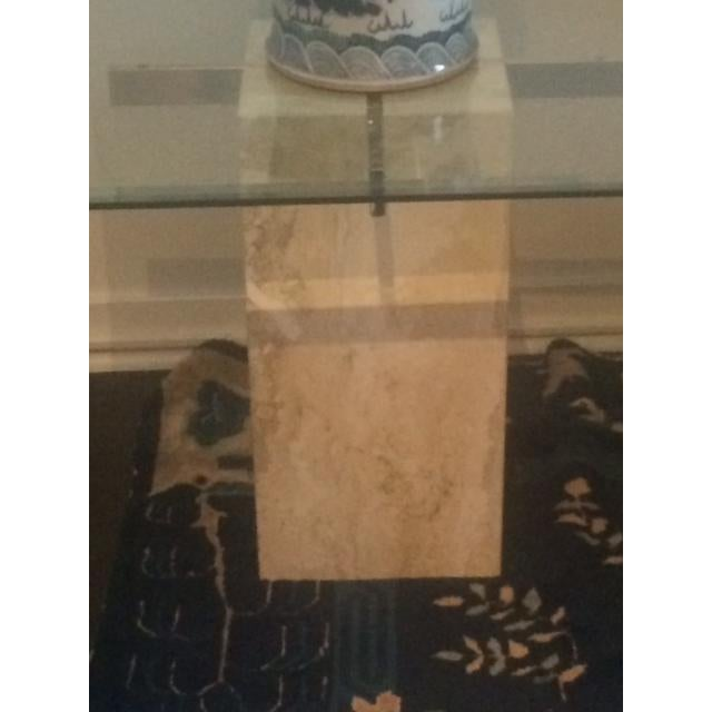 Image of Brass & Glass Travertine End Table