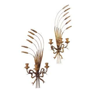 Italian Wheat Motif Gilt Metal Sconces - A Pair