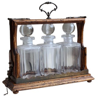 Antique Tantalus Decanter Set