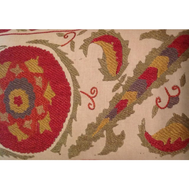 Red & Tan Silk Embrodery Suzani Pillow - Image 5 of 10