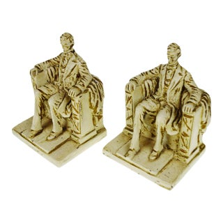 1962 Vintage Austin Productions Sculpture Lincoln Bookends - A Pair
