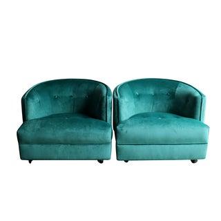 Aqua Velvet Barrel Back Club Chairs - Pair