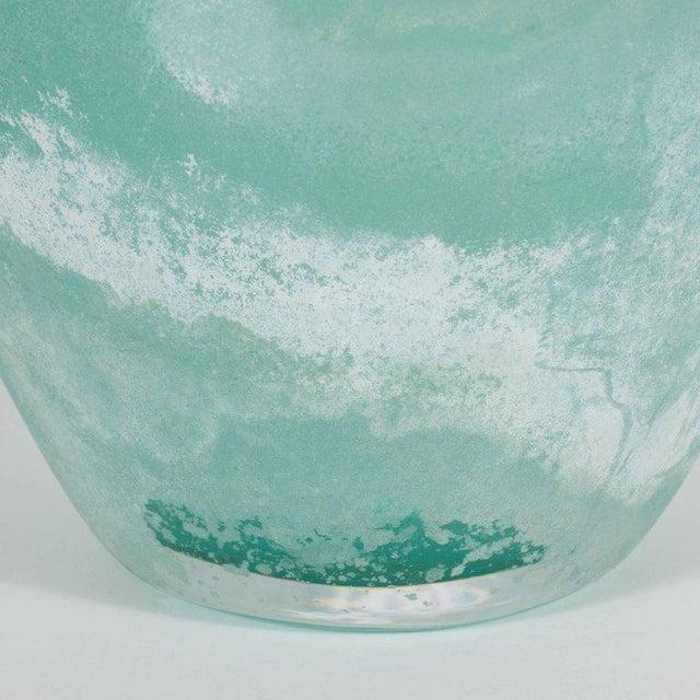 Mid-Century Modern Scavo Finish Murano Glass Aquamarine Vase by Seguso of Italy - Image 7 of 9
