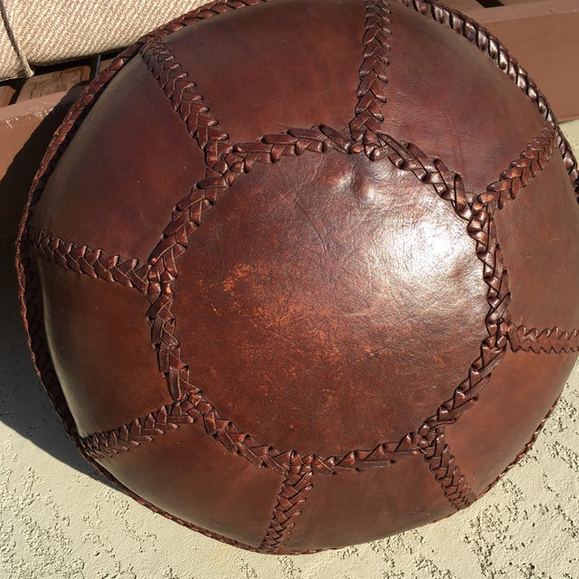Vintage Bohemian Hand Stitched Leather Floor Pillow - Image 11 of 11
