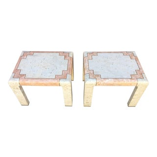 Maitland-Smith Style Tessellated Stone End Tables - A Pair