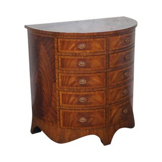 Maitland Smith Flame Mahogany Demilune Commode Chest of Drawers