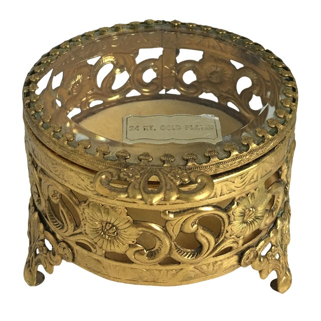 Vintage 24 Carat Gold Ormolu Trinket Box - Image 1 of 3