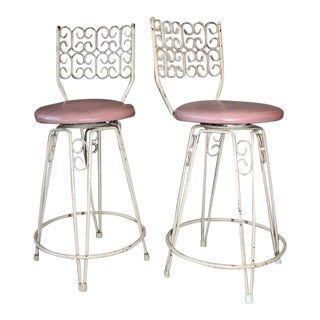 Arthur Umanoff Mid-Century Wrought Iron Bar Stools - a Pair