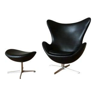 Arne Jacobson for Fritz Hansen Egg Easy Chair & Footstool