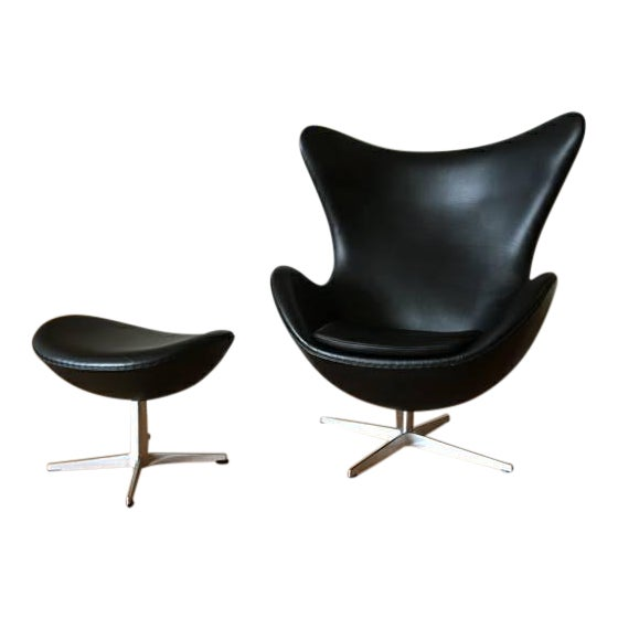 Image of Arne Jacobson for Fritz Hansen Egg Easy Chair & Footstool